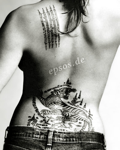 Asian tiger back tattoo of Angelina Jolie