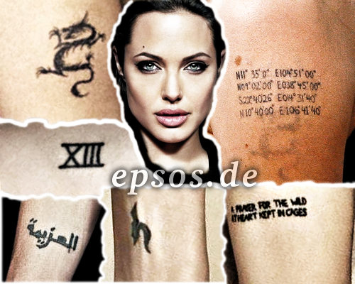 angelina jolie tattoos pictures