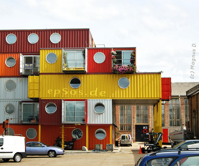 Beautiful shipping container house.