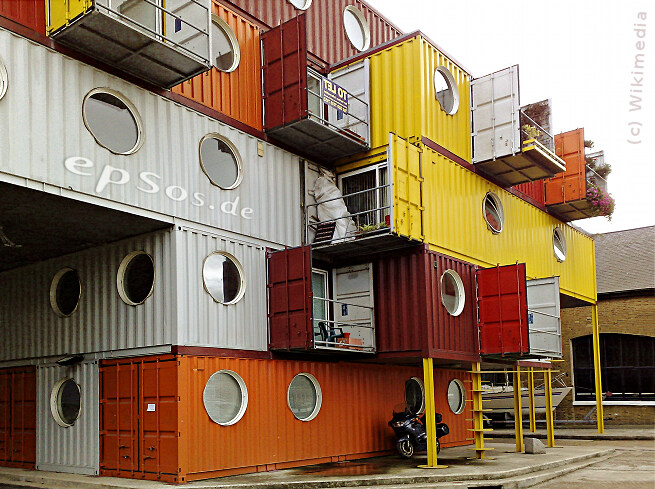Big shipping container house design.