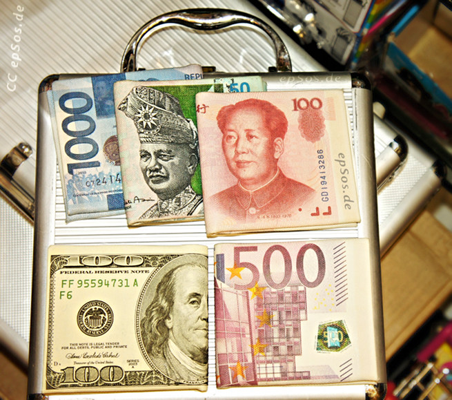 Currency and paper money for forex trading investment.