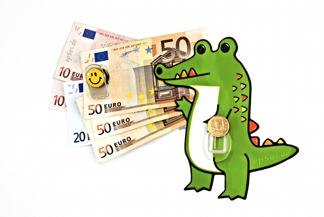 Rich crocodile with funny money and cash in euro currency.