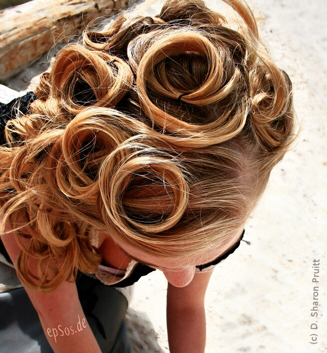 Girl With Vintage Pin Curl Hairstyle